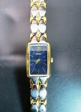SEIKO WOMEN'S BLUE FACE TWO TONE GOLD AND SILVER WRISTWATCH WITH NEW BATTERY