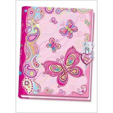 Butterfly Diary With Lock For Girls Kids Fashion Precious Gift By Pink Notebook