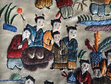 VTG Antique Chinese Embroidery 100 Happy Kids Fish School Musician Silk Panel