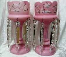 C19th Lustres Pink Floral Handpainted with clear Crystal drops - Damage to one