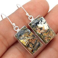 Russian Astrophyllite 925 Sterling Silver Earrings Jewelry SE115171