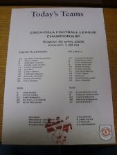 30/04/2006 Colour Teamsheet:  Crewe Alexandra v Millwall  . Thanks for viewing t