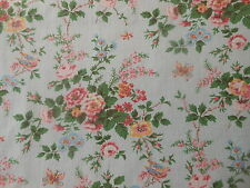 Vintage French Cottage Roses Birds Butterfly Cotton Fabric ~pink blue green