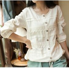 Brand New Japanese Korean Style Lace Pattern Button Cardigan Shirt Blouse Top XS