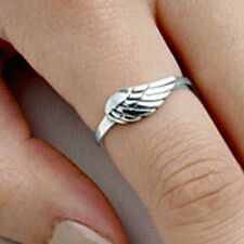 .925 Sterling Silver Ring size 5 Angel Wing Midi Knuckle Kids Ladies New p86