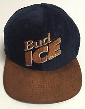 Vtg Bud Ice Beer Strapback Hat Made In The USA Corduroy Alcohol Budweiser