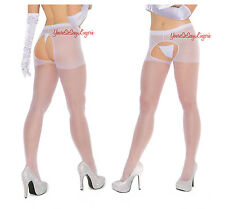 Plus Size SHEER CROTCHLESS PANTYHOSE Nylon OPEN CROTCH Open Back 4 Colors QUEEN
