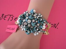 "BETSEY JOHNSON VERDE BLUE ""PATINA"" FLOWER CLUSTER HINGED BANGLE BRACELET~NWT"