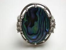 Ring mit Perlmuttplatte und 6 Zirkonia Silber 835