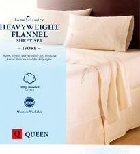 NEW home classic Queen 100% Cotton Heavyweight FLANNEL SHEET SET  IVORY