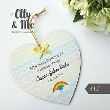 Handmade Personalised Wooden New Rainbow Baby Gift Plaque/Sign Heart Keepsake