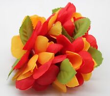 Hawaiian Lei Party Luau Writband hand Flower Royal  Floral Plumeria Orange Red
