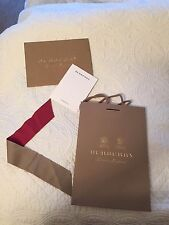 Authentic Burberry Paper Shopping Bag ribbon envelop and card