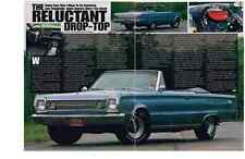 1966 PLYMOUTH SATELLITE CONVERTIBLE 440-6  ~  NICE 2-PAGE ARTICLE / AD