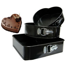 SPRINGFORM 3 NON STICK BAKING COOKING PAN TINS BAKE TRAY HEART ROUND SQUARE SET