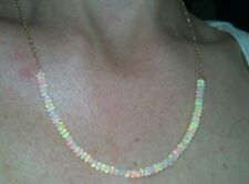 18CTS Genuine Ethiopian Fire Opals SOLID 14K gold Long 20 inch necklace
