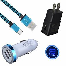 Wall Car Charger USB C Cable Bundles for LG G5 V20 Nexus 5x 6P ZTE Zmax Pro X3