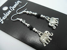 A PAIR TIBETAN SILVER DANGLY ELEPHANT & BLACK CRYSTAL  EARRINGS. NEW.