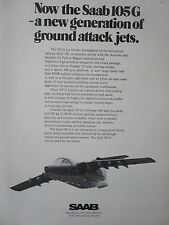 5/1973 PUB SAAB AIRCRAFT TWIN JET SAAB 105 G SWEDISH AIR FORCE ORIGINAL AD