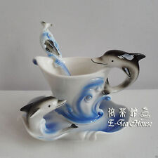 Enamel Porcelain - Ocean Dolphin Tea / Coffee Cup with Saucer & Spoon ( Gift )
