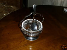Vintage English Jam Dish with Original Spoon Silverplate Basket Carrier
