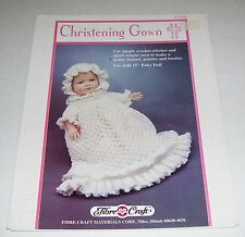 FIBRE CRAFT 1992 CHRISTENING GOWN 15 INCH BABY DOLL CROCHET PATTERN OOP FCM288