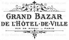 FRENCH FURNITURE DECAL DIY SHABBY CHIC IMAGE TRANSFER VINTAGE LABEL GRAND HOTEL