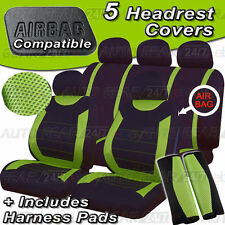 Black Green Mesh Air Bag Friendly 5 Headrest 2 Shoulder Pads Car Seat Cover Set