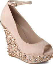 Carvela Embellish Wedge Heel Nude Cream Gold 7/40 Kurt Geiger Wedding KG Stud