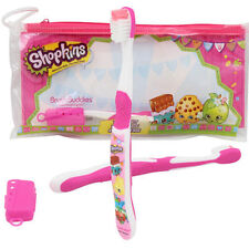 Shopkins Travel Kit Soft Toothbrush w/ storage cap n Pouch Cepillo de Diente NWT