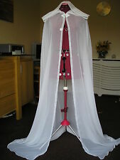 Ivory chiffon cape cloak large hood slight train lovely for over a wedding dress