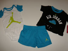 NWT Baby Boy Nike Air Jordan 3pc Bodysuit Shirt Shorts Outfit Set 0-3M New Logo
