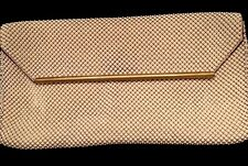 Whiting And Davis Vintage Pearl White Mesh Clutch Purse W/gold Trim