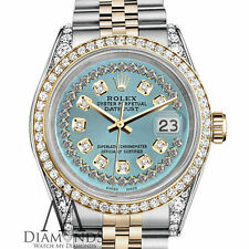 Ladies Rolex Steel and Gold 26mm Datejust Ice Blue String Diamond Dial Watch