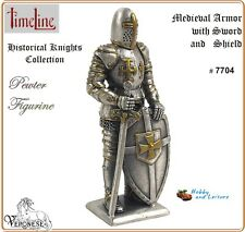 Pewter Medieval Knight w/ Sword & Shield 4.25ins Myths Legends Ancestors # 7704