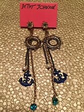 Authentic Betsey Johnson Vintage Nautical Anchor Life Saver Sailor Earrings RARE