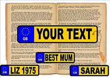 Personalised Number Plate Fun Novelty Reproduction Bookmark