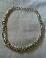 "Very Unique Judith Ripka 925 Sterling 88 Gram 18""Choker/Collar Necklace"