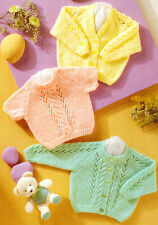 """Premature Baby Cardigan & Sweater Cable & Eyelet 12"""" - 22""""  DK  Knitting Pattern"""