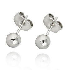 1Pair 18K White Gold Plated Ear Stud Dots 0.8mm With Earring Back Stoppers 5mm