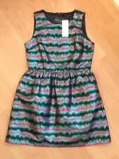 BNWT women's French Connection pink/black/green Jacquard Striped Dress. UK 12