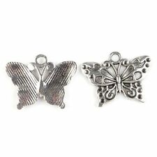 30x 142412 New Wholesale Butterfly Charm Vintage Silvery Alloy Pendant Findings