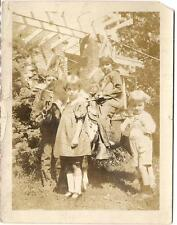 Kids Standing By Indian Costume Boy Kid On Pony Vintage 1920s Photo