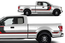 Custom Vinyl Decal Rally Stripe 2 Wrap Kit for 2015-2017 Ford F-150 Black + Red