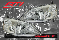 01-03 Honda Civic 2 Door ES EM JDM Chrome Headlights w/ Clear Reflector EX LX DX