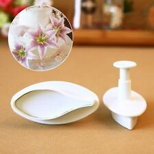 2pcs Lily Flower Fondant Cake Cookie Gum Paste Plunger Cutter Decorating Mold