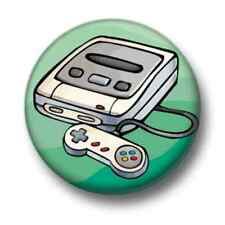 Retro Video Games Console 1 Inch / 25mm Pin Button Badge Snes 16 Bit Arcade Fun