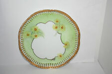 E. Holloway Vtg Pierced Cut Hand Paint Decorative Porcelain Wall Plate Flowers
