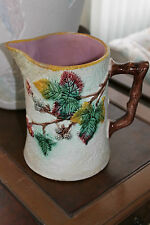 "Large Antique Wedgwood Majolica Rustic Blackberry 8 1/2"" High Milk Pitcher"