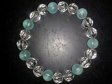 BEAUTIFUL CLEAR & AQUA BEADS BRACELET - (18)